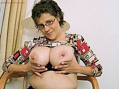granny with huge boobs fisting her pussy from Unique Sexy Girls