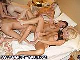 Hot wives eat pussy in wild pool orgy from Naughty Allie